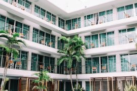 Hotel balcony at tropical resort