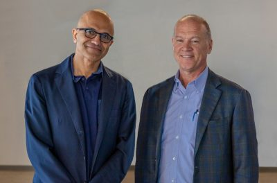 Microsoft CEO Satya Nadelle with AT&T CEO John Donovan