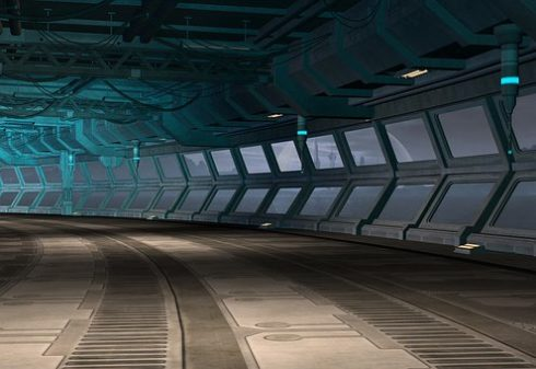Futuristic looking corridor